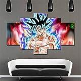 QJXX 5 Panels Leinwand Gemälde Dragon Ball Malerei HD Leinwanddrucke Wand Kunst Wohnkultur Für Wohnzimmer (Kein Rahmen),A