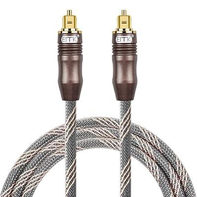 EMK Câble Audio numérique Optique Fibre Optique Toslink Câble Audio SPDIF Câble Mâle vers Mâle Cordon pour Home Cinéma, Barre de Son, TV, PS4, Xbox, Playstation et Bien Plus Encore de Emk