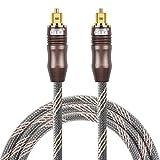 EMK - Cable de Audio óptico Digital de Fibra óptica Toslink, Cable de Audio Macho a Macho para Cine en casa, Barra de Sonido, TV, PS4, Xbox, Playstation y Más 3,05 m