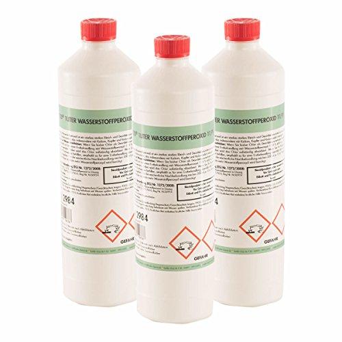 Höfer Chemie 6 x 1 L Wasserstoffperoxid 11,9{bbd111693abcf23602cf03e4f1458679c8f397d8bd602caa9702ee9dbc38f581} techn. Qualität - in handlichen 1 L Flaschen