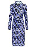 Finejo Damen Rockabilly 50er Vintage Retro Kleid Swing Kleider Langarm Hemden Kleid Lang A-Linie (XL, Blau-2)