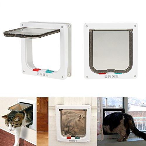 Zerone gato Tapa inteligente de gato para puerta de mascotas de puerta de gatos de puertas de Transparente solapas de guías Dirección ligero materielle blanca 23x 21cm