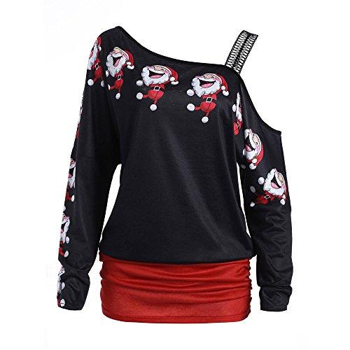 OverDose Damen Bluse Pullover Damen Weihnachten Weihnachtsmann Print Tops Langarm Aus Schulter Party Cosplay Elegante Lange Bluse Shirt Tops(Rot,EU-46/CN-XXL )