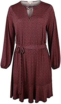 Michael Michael Kors Women's Plus Size Garden Bud Floral Print Keyhole Neck Blouson Long Sleeve Dress, True Navy/Terra Cotta (2X (18W-20W))
