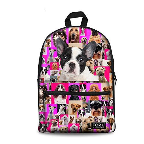 Niedlichen Mops Hund gedruckt Kind Schulrucksack Buchtasche for Teenager-Mädchen (Color : Boston Terrier, Size : -) -