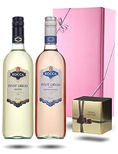 Pretty In Pink, Pinot Grigio Pair & Chocolate Truffles Gift Box