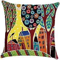 Pintado a Mano Retro de Las Ciudades Rurales de Color Cojín de Lino Almohadilla de Tiro del hogar del Coche decoración Decorativo Funda de Almohada
