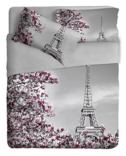 Ipersan Paris Bettwäsche Foto Fine Art, 100{77213d89261df827d94f3da13b509d0716870b315e9f6239bd53a8f7befbba24} Baumwolle, Grau/Fuchsia, Doppelbett, 260x 300x 1cm, 3Einheiten