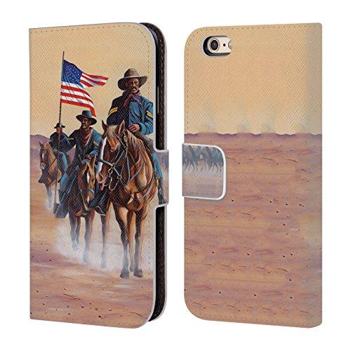 Ufficiale Geno Peoples Art In Alto Vita Cover a portafoglio in pelle per Apple iPhone 6 Plus / 6s Plus Soldati Buffalo