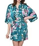 DELEY Damen Morgenmantel Kimono Robe Nachtwäsche Kurz aus Satin mit Pfau & Blüten Bademantel Größe S Dunkelgrün
