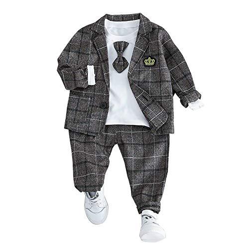 HLWLWOLFOYC Baby Junge Anzüge 3 Stück Set Langarm Shirt + Sakko + HoseKaffee , 0-6 Monaten (Herstellergröße :6)