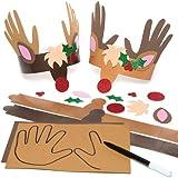Kits de Couronnes Empreintes de main Renne que les enfants pourront confectionner puis porter (Lot de 4)