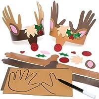 Baker Ross Kits de Couronnes Empreintes de Main Renne Que Les Enfants pourront confectionner Puis Porter (Lot de 4)