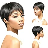 Hot products!! Meisi Hair Stylish Heat Resistant Black Synthetic Straight Attractive Short Wig Full Wig Short Wigs for Women