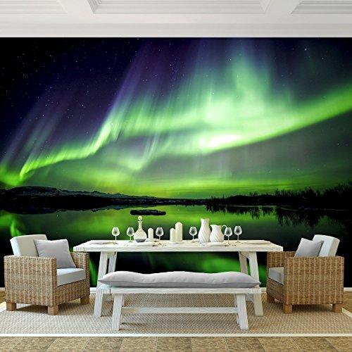 Fototapete Polarlicht 352 x 250 cm - Vliestapete - Wandtapete - Vlies Phototapete - Wand - Wandbilder XXL - !!! 100% MADE IN GERMANY !!! Runa Tapete 9032011c