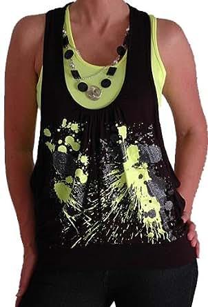 Graphic Design Druck Neon Fashion Top mit Perlen Schwarz & Gelb S/M