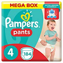 Pampers Pants Diapers, Size 4, Maxi, 9-14 kg, Double Mega Box, 184 Count, 30217.501