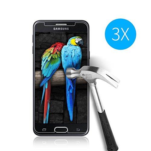 Weinstock-Science| 3X bruchsicheres Panzerglas für Samsung Galaxy J3 2017 | Schutzfolie aus 9H Echt Glas | angenehme Handhabung| Schutzglas Zum Schutz vor Displayschäden | blasenfreie Anbringung | 3 Stück