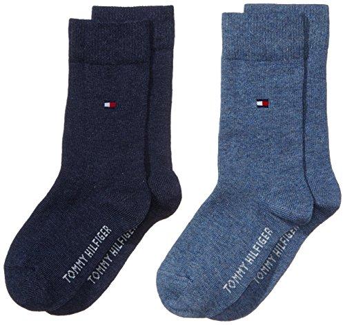 Tommy Hilfiger 391334, Calcetines para Niños, Azul (Jeans 356), 27-30 (Tamaño del fabricante:027) (Pack de 2