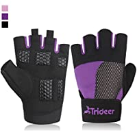 Trideer Womens Weight Lifting Gloves For Callus And Blister Protection, Breathable & Anti-slip Gym Gloves For Powerlifting/Cross Training/Bodybuilding - Available in Black, Pink, Purple (Pair)