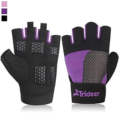 Trideer Damen Ultraleicht Trainingshandschuhe Fitness Handschuhe mit Adjustable Handgelenkstütze und Silica Gel Grip für Krafttraining Bodybuilding und (Gore Mikrofaser Handschuhe)