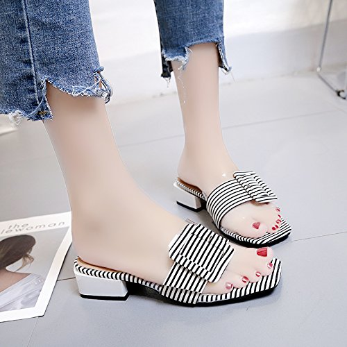 RUGAI-UE Estate indossare sandali donne fibbia Fringe scarpe antislittamento Pantofole White
