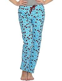Clovia Printed Comfy Pyjama In Blue