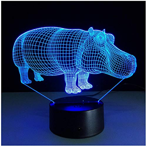 Nachtlicht NachttischLampee Hippo Colorful Touch Led 3D Led Lampe Light Novelty Halloween Gift Atmosphere Gift Desk Lampe Led Nachtlicht Party Birthday Gift (Gift-halloween-party Wählen Ihr Sie)