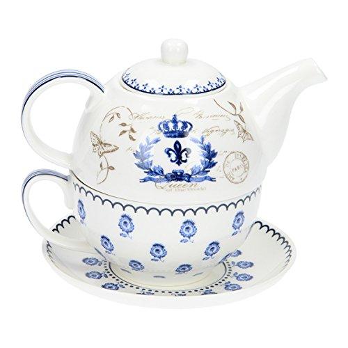"""Tee for one Set Teekanne & Tasse mit Untertasse \""""DELFT STYLE\"""" Lilie blau weiß"""