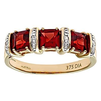 Naava 9ct Yellow Gold Diamond and Red Garnet Eternity Ladies Ring