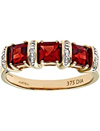 Naava 9ct Yellow Gold Diamond and Red Garnet Eternity Ladies Ring
