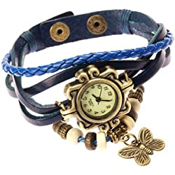 Blue Ladies Womens Plaited Leather Strap Fashion Butterfly Wrist Watch by VAGA®