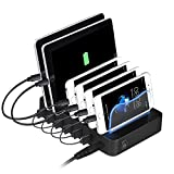 PRITEK USB Ladestation, 6 Ports Universell Ladegerät Für Mehrere Geräte Handys Tablets 50W 5V/10A Dockingstation für Apple iPhone iPad Samsung Smartphones (Schwarz)