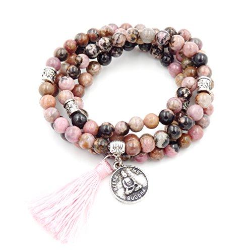 mala perlen Armband, buddhistische gebetsperlen, Lappen Armband, Buddha weniger Mich erklärung Halskette (Rhodonite)