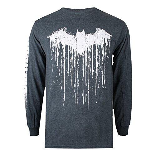 DC Comics Herren Langarmshirt Batman Paint Grey (Dark Heather Dkh)