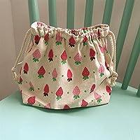 Yudanwin Leinwand-Lunch-Tasche Cartoon süße Katze Kordelzug Lunchpaket Insulation Pack (Erdbeere) preisvergleich bei kinderzimmerdekopreise.eu