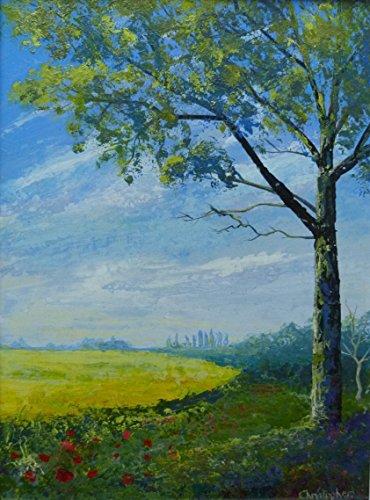 Campo giallo - 30cmx20cm, piccolo paesaggio pittura, scena del paese, papaveri di campo giallo, cielo blu
