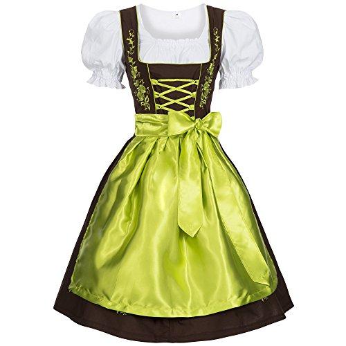 Gaudi-Leathers Bavarese Dirndl set marrone con verde 3 pezzi costume tipico tirolese per Oktoberfest Carnevale Donna 42