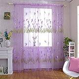 Powlance Alo Flower Print Garn Tüll Sheer Vorhang Fenster Bildschirm Voile Panel Parda, violett, 1 x 2 m/39.37 x 78.74