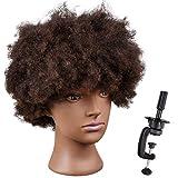 smilco Afro Mannequin Kopf 20,3cm 100% Echthaar afrikanischen Übungskopf für Friseure