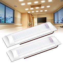 Illuminazione interna a LED AMBOTHER 2x 72 LED plafoniera con interruttore 12V RV lampada da lettura LED sotto il pavimento camper per il campeggio interno barca da campeggio – 6000K, bianco freddo