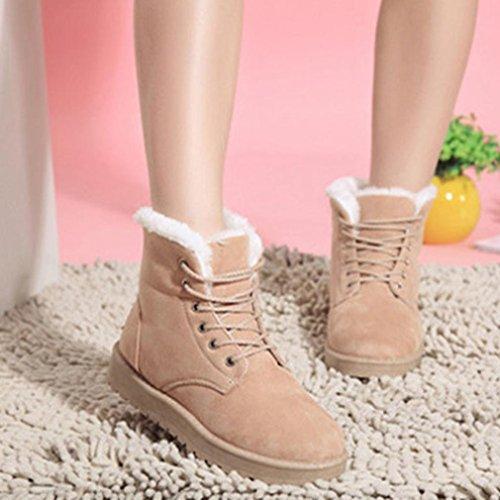 Clode® Mode Frauen Stiefel Flache Ankle Lace Up Pelzfutter Winter warme Schneeschuhe Beige
