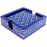 IndiCart Wooden Drink Coasters Wood Table Coaster Set for Tea Cups Coffee Mugs Beer Cans Bar Tumblers and Water Glasses (6)