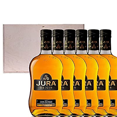 6 x The Isle Of Jura 10 Year Old Origin Single Malt Scotch Whisky 35cl Half Bottle in Pine Wood Gift Box With Handcrafted Gifts2Drink Tag