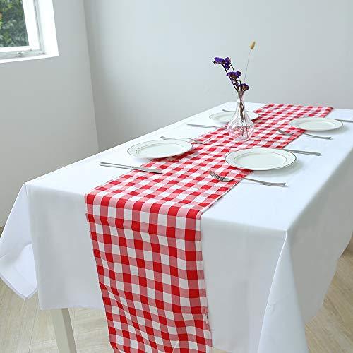 Zdada Tischläufer für Party, Picknick, Bankett, 100% Polyester, kariert 12x72'' rot/weiß