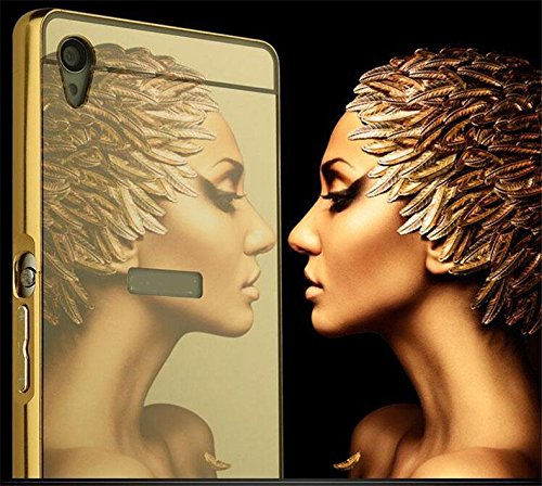 MACC Luxury Aluminium Bumper With Mirror Acrylic Back Cover For Sony Xperia Z L36h - YELLOWGOLD  available at amazon for Rs.299