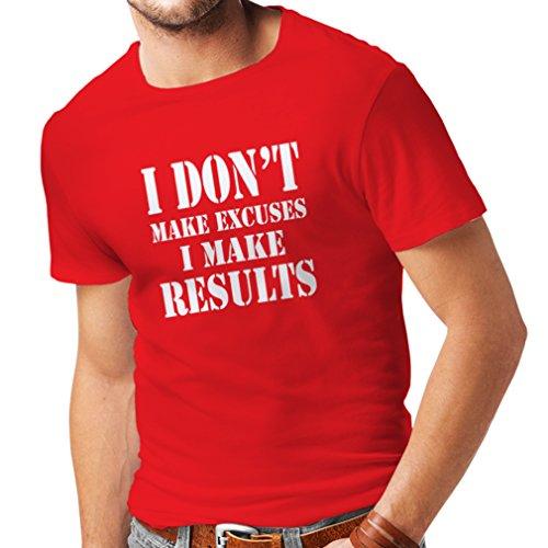 Männer T-Shirt I make results - Gewicht verlieren schnelle Zitate und Muskelaufbau Motivationsrede (XX-Large Rot Weiß) (Weißen Socken Roll-top Herren)