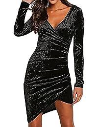 1f7579661be5 Hibote Abito da Donna con Scollo a V Profondo Manica Lunga Aderente in  Velluto Clubwear