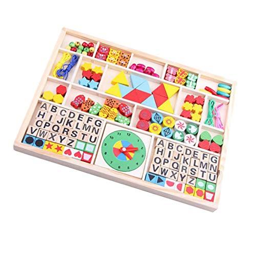 SM SunniMix Holz Bildungs-Spielzeug, Kinder Threading Perlen Spielzeug, Holz Uhr Buchstaben Perlen in Einer Box (Holz-threading)