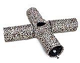 TAILMATE Katzentunnel mit 4 Röhren, weiß Leoparden-Design, Faltbare, Raschelndes Material(Weiß-4 Röhren)